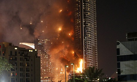 Pictures of Dubai fire at Address Downtown on New Year's Eve